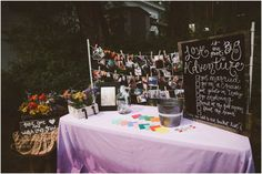 Reception welcome table - bucket list guest book | Jessica Janae Photography