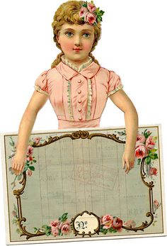 Victorian Scrap Girl with Label