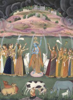 Krishna lifting up Mount Govardhan - Fine Art Print