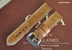 Honey Brown handmade leather watch strap 24 mm by CentaurStraps, €65.00