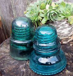Telephone pole blue glass insulators..I have a couple of these that I use for doorstops