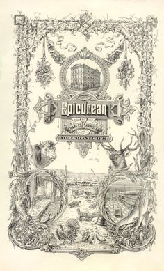 The Epicurean Cookbook ~ First published during the Gilded Age in NYC, c.1894, by famous Delmonico's restaurant Chef, Charles Ranhofer. ~~ {cwl} ~~ (image via: msu.edu)