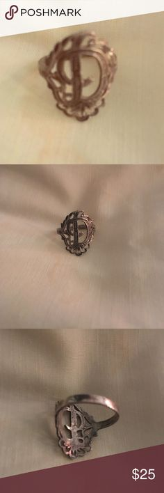 Vintage Silver letter D ring. Size 6.  Silver with letter D and filigree design.  I already have this one, I love it but don't need 2. Could use a better cleaning, may have a little tarnish from not being worn.  Feel free to ask questions or make an offer. Jewelry Rings