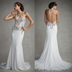 Wholesale Sheath Wedding Gown - Buy 2015 Sfani Stunning Sheath Wedding Dresses Satin Applique Beaded Crystals Halter Backless Chapel Train Formal Bridal Gowns Custom Made, $126.39 | DHgate.com
