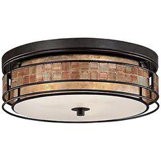 """Quoizel Laguna 16"""" Wide Renaissance Copper Ceiling Light"""