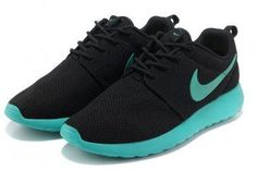 Nike Roshe Run Womens Black Cyan Blue Mesh Shoes