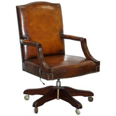 For Sale on - We are delighted to offer for sale this lovely fully restored hand dyed Gainsborough office chair, circa A stunning and very comfortable chair, it Brown Leather Office Chair, White Desk Office, Swivel Office Chair, Desk Chair, Office Chairs For Sale, Leather Chesterfield, Mahogany Brown, Metal Chairs, Chair Design