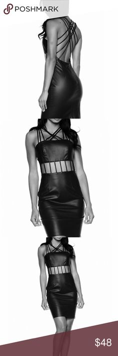 Sexy Strap Cocktail/Clubbing Dress Vegan Leather S Stunning on. The perfect Vegas party scene dress. Back zip, so your hair and makeup stay perfect. Vegan leather with a soft cloth side against your skin for comfort. Size S. NWT Rehab Dresses