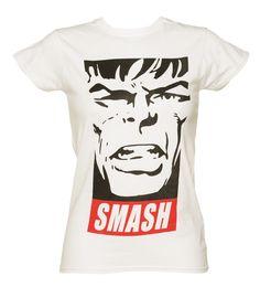Ladies White Smash #Hulk #Marvel T-Shirt xoxo
