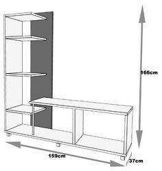 centro de entretenimiento para multimedia y tv envío gratis Diy Interior Furniture, Tv Unit Furniture, Iron Furniture, Deco Furniture, Furniture Design, Tv Cabinet Design, Tv Wall Design, Wooden Dining Table Designs, Modern Tv Wall Units