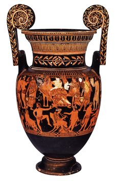 Pronomos Painter's name vase Attic red-figure, BC Naples, Museo Nazionale Archeologico Size: 75 cm (volute-crater) Function: convivial, display Technique: red-figure with added white paint, dilute washes Style: 'ornate' Ancient Greek Theatre, Ancient Greek Art, Ancient Greece, Greek Pattern, Red Vases, Art Antique, Greek Culture, Minoan, Classical Art