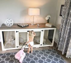 Warning: Too cute alert! These dog kennels are can also be a fort to your little ones I guess! Love how this farmhouse style kennel fits in their home. #dogcrate