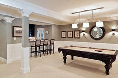 Basement - light and bright with woodwork and mouldings