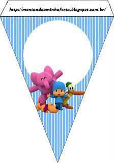 Montando minha festa: Pocoyo 2nd Birthday, Birthday Parties, Paper Banners, Baby Decor, Baby Shower Cakes, Paper Cones, Smurfs, Party Themes, Birthdays