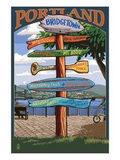 Portland, Oregon Destinations Sign Premium Poster