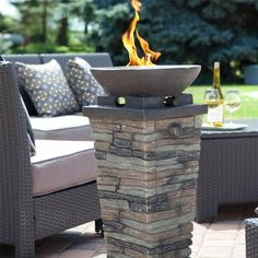 Propane Outdoor Fire Column Fire Pit With Fire Glass
