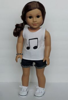 Upcycled Music Note Tank Top - American Girl Doll Clothes