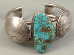 BETTY YELLOWHORSE Navajo STERLING Number 8 Turquoise & 1/2 Dollar Cuff Bracelet