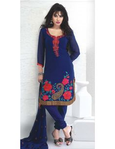 Classic Royal Blue Suit http://www.bharatplaza.com/womens-wear/readymade-suits/bollywood-salwars.html