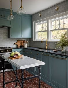 Black Marble Countertops on Blue Green Cabinets - Transitional - Kitchen Blue Green Kitchen, Green Kitchen Cabinets, Kitchen Cabinet Colors, Kitchen Countertops, Kitchen Decor, Kitchen Island, Modern Victorian Decor, Victorian House Interiors, Victorian Kitchen