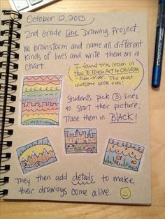 An Art Teacher's Journal. 2nd grade line drawing project. Students create a 3-line drawing to start a picture.