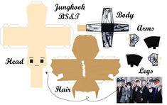 3d Paper Crafts, Paper Toys, Paper Doll Template, Kpop Diy, Things To Do When Bored, Bts Drawings, Bts Chibi, Foto Bts, Diy Doll