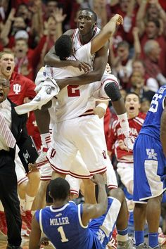 Victor OLadipo hugs Christian Watford because they beat the No. I will never forget that night! One of the greatest things I have ever experienced. Indiana Basketball, Basketball Players, Sports Teams, Victor Oladipo, Indiana Girl, Iu Hoosiers, Thing 1, Lucky Ladies, Indiana University