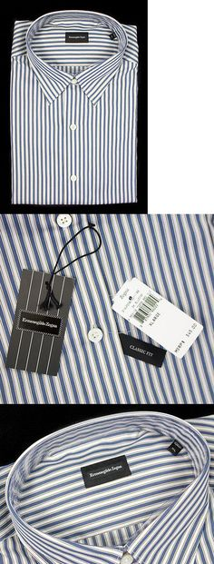 Dress Shirts 57991: Ermenegildo Zegna Blue Striped Cotton Classic Fit Button Down Shirt Xl Nwt $345! -> BUY IT NOW ONLY: $114.71 on eBay!