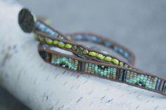 Wrap Bracelet with Czech beads in avocado by FlowSilverJewelry, $72.95
