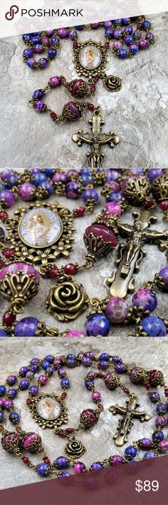 "Blessed Virgin Mary Purple Agate Ornate Rosary Blessed Virgin Mary Purple Agate Artisan One of the kind Handcrafted Ornate Rosary for Vitality, Protection,Love, Harmony,Success,Optimism,Good luck, Balance, Peace, Stress.  Made to order   - Purple Pink crab Agate 8mm Ave beads,   - Dark Pink Our Father Beads with Red Jade accent  - Large 1 3/4"" floral Blessed Virgin Mary pictorial Center, 2"" Ornate Crucifix and Rose charm.  Larger than commercial Rosary Length   Material : Natural Gemstone…"