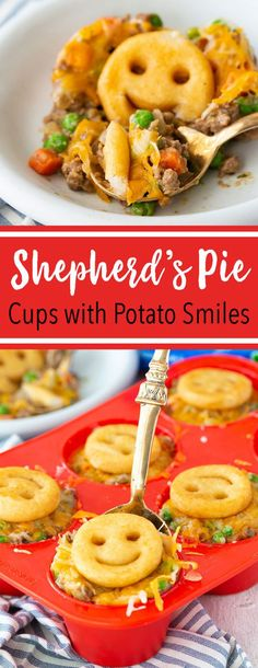 Muffin tin sized shepherd's pie cups made for kids with McCain® Smiles® Mashed Potato Shapes on top in place of traditional mashed potatoes. This quick and easy meal is a kid favorite, super… Baby Food Recipes, Beef Recipes, Dinner Recipes For Kids, Daycare Meals, Easy Meals For Kids, Kids Cooking Recipes Easy, Easy Toddler Meals, Toddler Food, Quick Kid Dinners