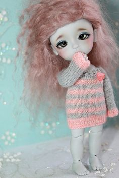 LATI Yellow PukiFee  Stripes and Heart  Mohair by DoLLYSToRY, $30.00