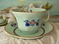 Vintage Teacup and Saucer Ironstone English Tea Cup and Saucer