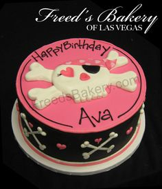Girl pirate party cake -- use hello kitty's face with the crossbones for P