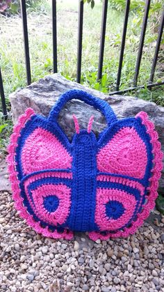 Crochet Butterfly Handbag Purse Bag-O-Day Crochet Crochet Handbags, Crochet Purses, Crochet Bags, Unique Crochet, Diy Crochet, Learn Crochet, Crochet Butterfly, Diy Butterfly, Crochet Backpack