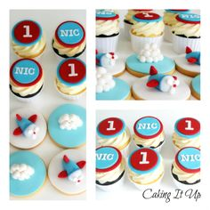 Super cute aeroplane themes cupcakes and cookies. Perfect for a little boy's birthday. www.facebook.com/cakingitup