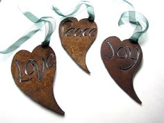 Recycled Rusty Heart Charms Metal Garden Art by by GeminiDragonfly, $55.00