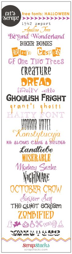Let's Scrap! Free Halloween Fonts  ~~ {25 free fonts w/ easy download links}