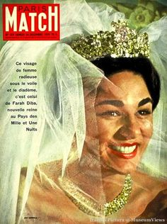 Farah Diba Pahlavi of Iran on her wedding day in Tehran on the cover of PARIS MATCH n°559 du 26 décembre 1959  http://museumviews.com/
