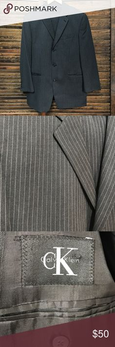 """Calvin Klein three button suit. Classic style, striped Calvin Klein suit. 42r jacket 34"""", 30"""" inseam pants. Used for my wedding. Does not fit anymore. Perfect condition! Calvin Klein Suits & Blazers Suits"""