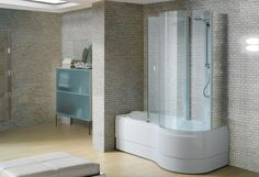 rectangular bath-tub shower combination GEMINI BOX Blu Bleu