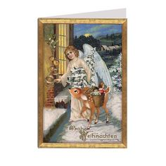 White Angel with Deer Glittered Christmas Card ~ Germany