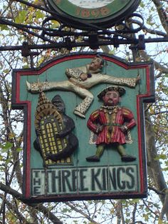 The Three Kings of Clerkenwell. King Kong, Elvis and Henry VIII. Metal Signage, Storefront Signs, British Pub, Old Pub, Pub Signs, London Pubs, Business Signs, Advertising Signs, Store Signs