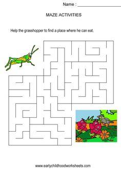 Grasshopper to plants maze (kids activity, visual skills, hand-eye coordination)