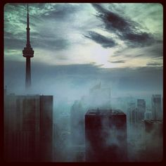 Love this picture of Toronto. Just a great shot, at one time the tallest structure in the world the CN Tower. Wicked sky, great looking sky scrappers, what is all about. Toronto Canada, Toronto City, Places Around The World, Around The Worlds, Earth From Space, Great Lakes, Beautiful Buildings, Looks Cool, Ontario