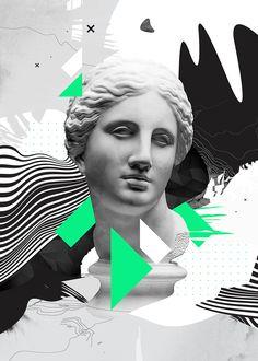 Graphic posters featuring classic Greco Roman statues by Alexandre Guimaraes. Graphic Design Posters, Graphic Design Inspiration, Graphic Art, Collage Design, Collage Art, Vaporwave Wallpaper, Vaporwave Art, Glitch Art, Sgraffito