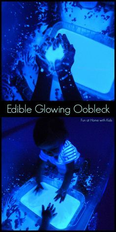 Edible Glowing Oobleck!  Made with items from your grocery store's food aisle.  Beautiful messy glowing fun!!!!  From Fun at Home with Kids