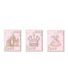 Look what I found on #zulily! Castle, Crown & Dress Wall Art Set by Stupell Industries #zulilyfinds  MADE IN THE USA