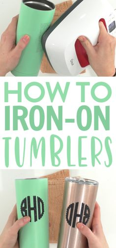 Today, we're going to teach you How to Iron-On Tumblers. We've tried making iron-on tumblers many times and there are some tips and tricks you need to know to get the best results that we will share with you. Today, we're going to teach you H Cricut Projects To Sell, Cricut Tutorials, Diy Vinyl Projects, Cricut Project Ideas, Burlap Projects, Burlap Crafts, Tips And Tricks, Vinyl Tumblers, Glitter Tumblers