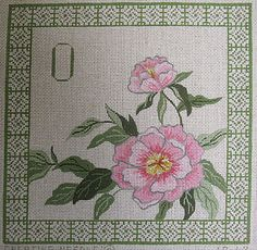 Pink Flower and Border Needlepoint Canvas
